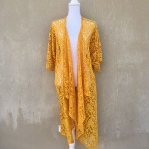 Turquoise haven lace duster drape cardigan